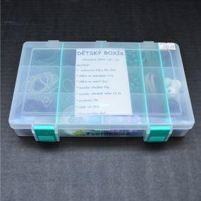Dětský box s korálky zelenofialový
