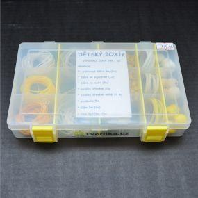 Dětský box s korálky žlutý