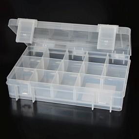 Box na korálky / komponenty průhledné zavíraní + šedé přihrádky