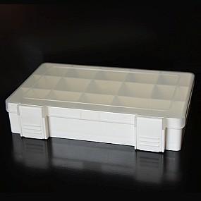 Box na korálky / komponenty bílý s bílými přihrádkami