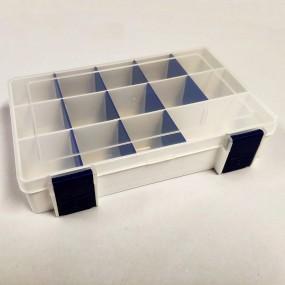 Box na korálky / komponenty bílý s modrými přihrádkami