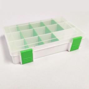 Box na korálky / komponenty bílý se zelenými přihrádkami
