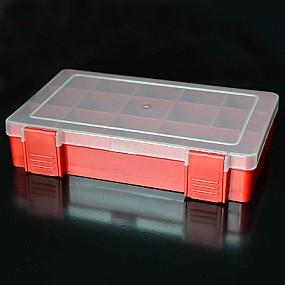Box na korálky / komponenty červený s červenými přihrádkami