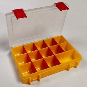 Box na korálky / komponenty žlutý s červenými přihrádkami