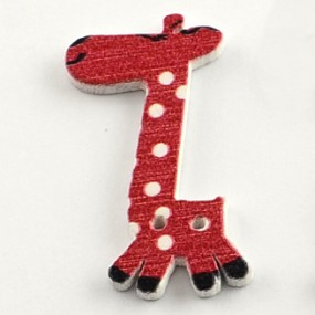 Knoflík dřevěný žirafa červená 40x25mm