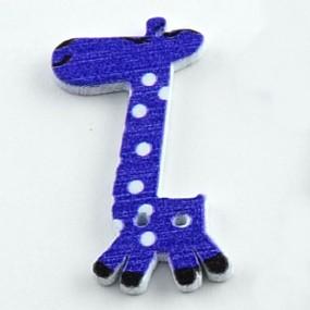Knoflík dřevěný žirafa modrá 40x25mm