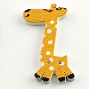 Knoflík dřevěný žirafa žlutooranžová 40x25mm