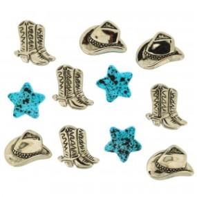 Ozdobné knoflíky Silver Hats & Boots