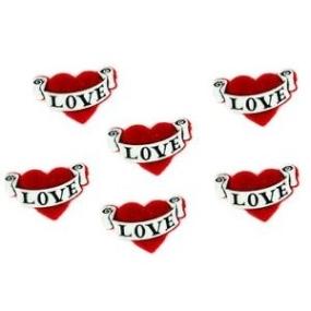 Ozdobné knoflíky Love Hearts