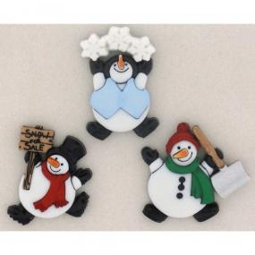 Ozdobné knoflíky ROLY POLY SNOWMEN
