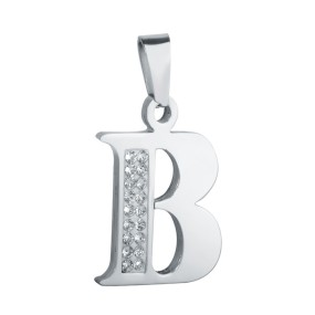 Přívěsek písmeno B s kamínky 29x18mm chirurgická ocel