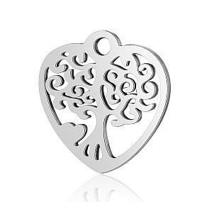 Přívěsek srdce / srdíčko se stromem života 16x16mm chirurgická ocel