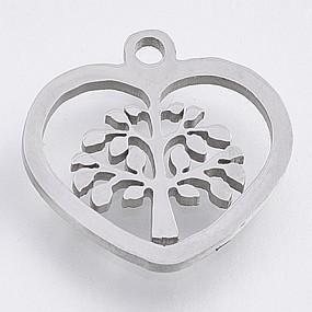 Přívěsek srdce / srdíčko se stromem života 14x14mm chirurgická ocel