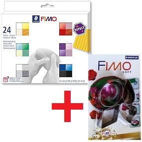FIMO Effect sada 24 barev 25g + 4 vykrajovátka navíc