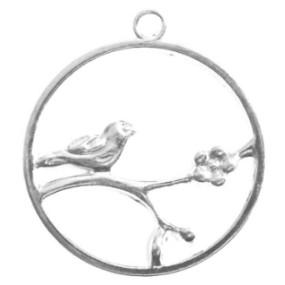 Přívěsek kruh s ptáčkem na větvi 33x30mm