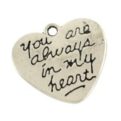 Přívěsek srdce you are always in my heart 22x22mm