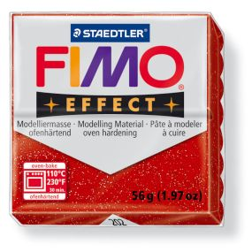 FIMO effect č. 202 červená se třpytkami 57g