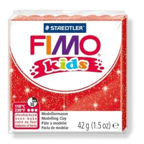 FIMO kids č. 212 červená se třpytkami 42g