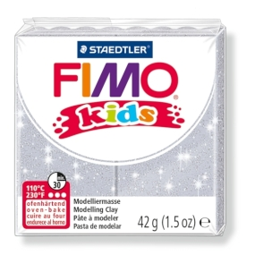 FIMO kids č. 812 stříbrná se třpytkami 42g