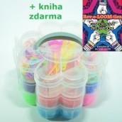 Třípatrový box s gumičkami na náramky Loom Bands + kniha Gumičkování s háčkem