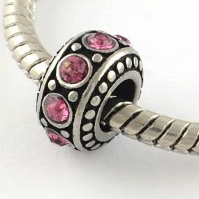 Korálek váleček s tmavě růžovými kamínky chirurgická ocel (1 ks)