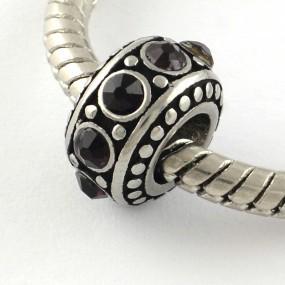 Korálek váleček s černými kamínky chirurgická ocel (1 ks)
