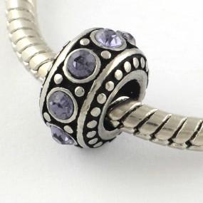 Korálek váleček s fialovými kamínky chirurgická ocel (1 ks)