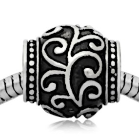 Korálek váleček s ornamenty I chirurgická ocel (1 ks)