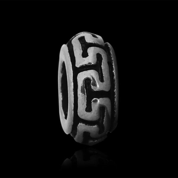 Korálek váleček úzký s ornamenty II chirurgická ocel (1 ks)