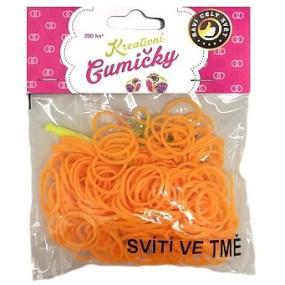 Gumičky na náramky Loom Bands plnobarevné oranžové svítící ve tmě