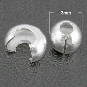 Krytky na zamačkávací rokajl stříbrná b. 10 ks (KZRS)
