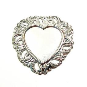 Lůžko ozdobné srdce 35x35mm stříbrná b.