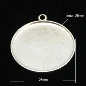 Lůžko kruh 25mm 1ks stříbrná b. vysoká kvalita