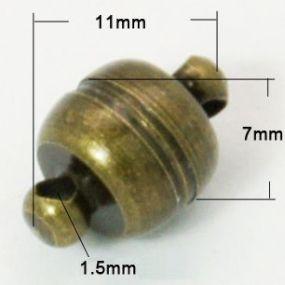 Magnetické zapínání starobronz půlkulaté 5mm (1ks)