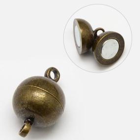 Magnetické zapínání starobronz půlkulaté 10mm (1ks)