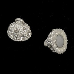 Magnetické zapínání s kamínky stříbrná b. 10mm (1ks)