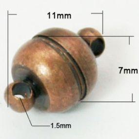 Magnetické zapínání staroměď půlkulaté 5mm (1ks)