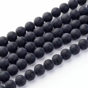 Imitace matného černého achátu 6mm (12ks)