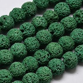 Lávové korálky tmavě zelené 8mm (10ks)