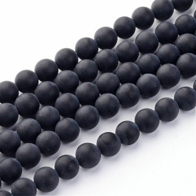 Achát matný černý 6mm (12ks)