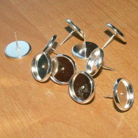 Lůžko náušnicové stříbrná b. 14mm (12mm vnitřní průměr) NS14 (10ks)