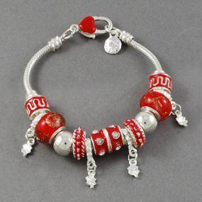Elegantní náramek s korálky - červený