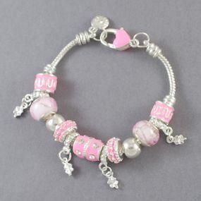 Elegantní náramek s korálky - světle růžový
