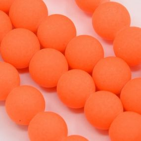 Korálky pogumované 8mm 6ks zářivě oranžové