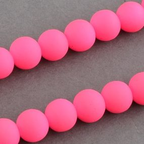 Korálky pogumované 10mm 5ks zářivě růžové