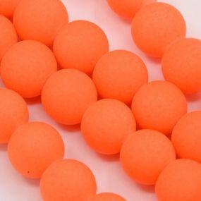 Korálky pogumované 12mm 3ks zářivě oranžové