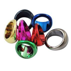 Prstýnek metalický plastový - zelený (1ks)