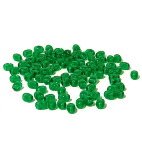 Dvoudírkový rokajl trávově zelená průhledná 10g