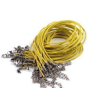 Voskovaná šňůra na krk s karabinkou žlutá