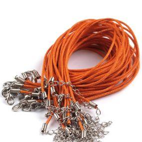 Voskovaná šňůra na krk s karabinkou oranžová